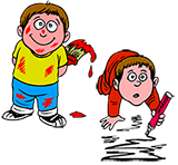 cartoon of kids making a mess