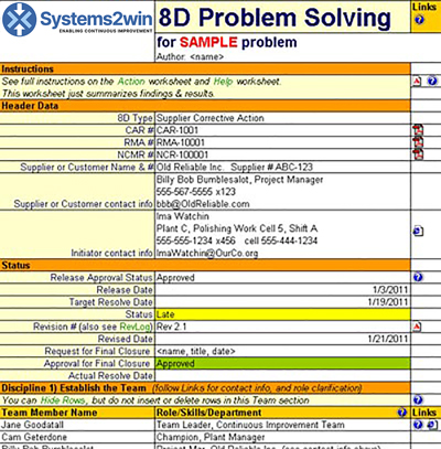 8D Report - 8D Problem Solving Template