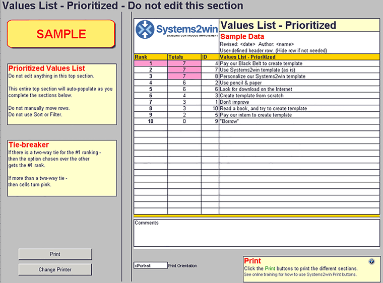 Value List Excel template