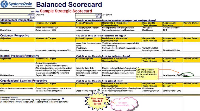 Balanced scorecard template excel balanced scorecard for Strategy map template xls