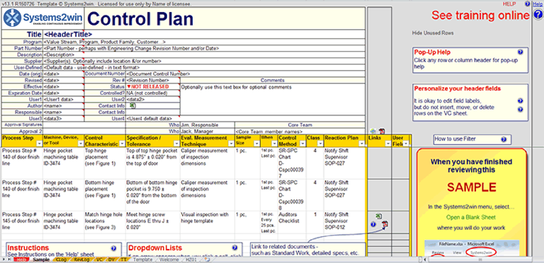 Control Plan template - Excel template for FMEA