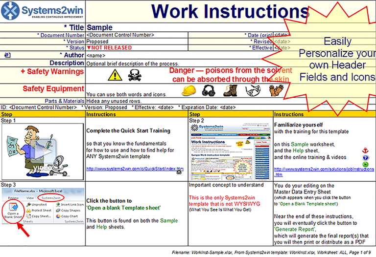 standard work instructions excel template work instructions work instruction template