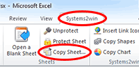 Systems2win menu > Copy Sheet