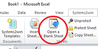Systems2win menu > Open a Blank Sheet