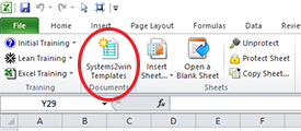 Excel > Systems2win menu > Systems2win templates