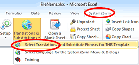 Systems2win menu > Translations and Substitutions