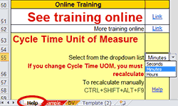 Choose Cycle Time Unit of Measure on Help sheet