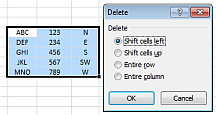 Delete cell range dialog window