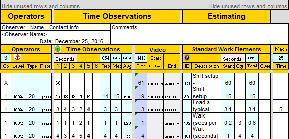 Standard work template standard work combination sheet for Smed template