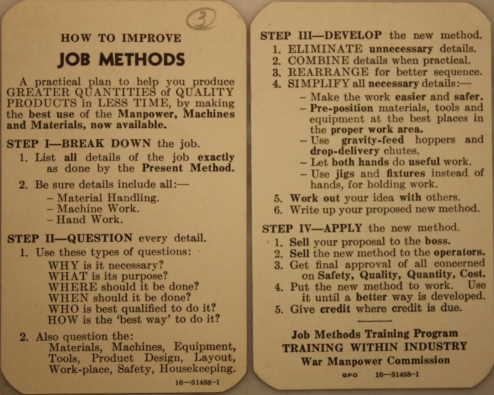 TWI Job Methods pocket card