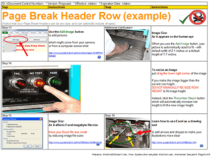 Work Instructions Page Break Header Row