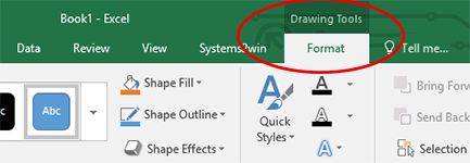 Excel drawing tools menu