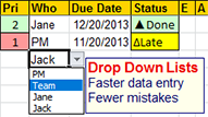 Dropdown lists for faster data entry and fewer mistakes