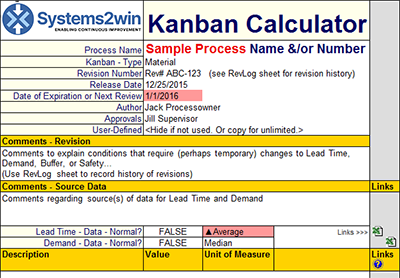 kanban calculator headers