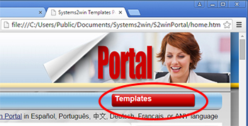 Portal > Templates button