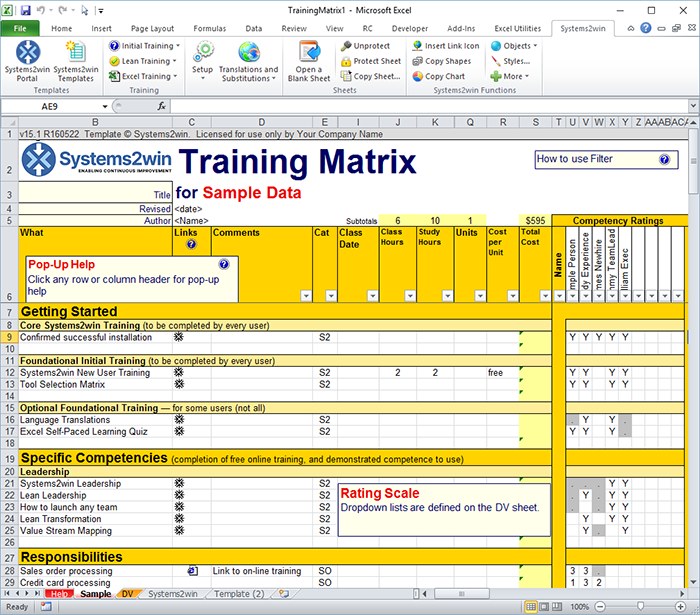 Training Matrix Skills Matrix Template