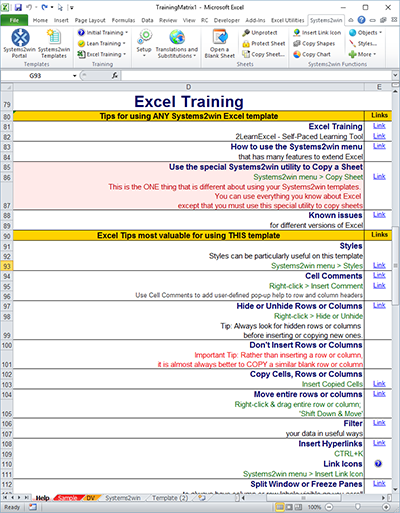 Training Matrix Excel training on the Help sheet