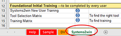 Training Matrix Systems2win tab