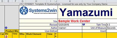 Yamazumi Excel template headers